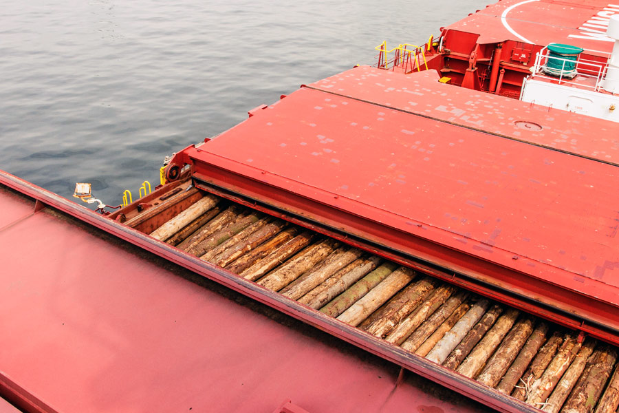 Fumigation of wood in ship